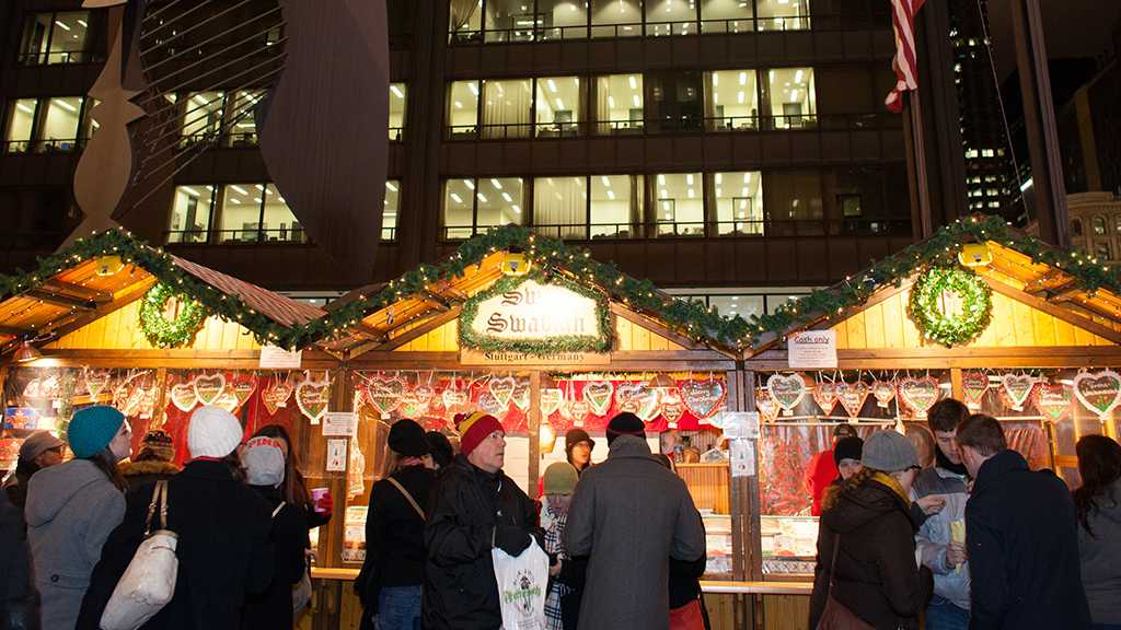 The Holidazzle turns downtown Minneapolis into a holiday-themed village.