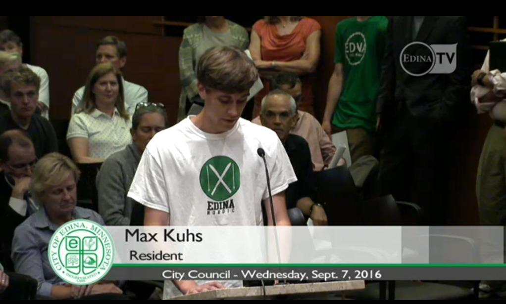 Senior, Max Kuhs at city council meeting