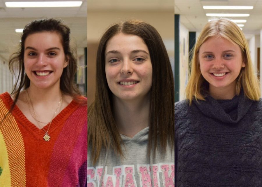 Seniors+Laura+Schroeder+%28left%29%2C+Masha+Feldman+%28middle%29%2C+and+Maggie+Hogan+%28right%29+will+be+spending+the+next+year+in+Brazil%2C+Australia%2C+and+Belgium%2C+respectively.